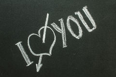I Love You  text written on chalkboard Stock Image