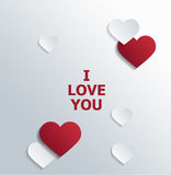 I love You Texts with Red and White Hearts. Conceptual I love You Texts with Red and White Heart Shapes on the Sides for Valentines Day Vector Illustration