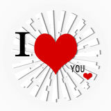 I LOVE YOU. Ticket with heart and decoration for  valentines day Royalty Free Stock Photos