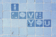 I love you on the tiles Royalty Free Stock Images