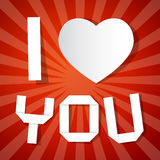 I Love You Title and Paper Heart Royalty Free Stock Image