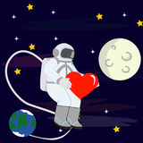 I Love You To The Moon And Back With Astronaut vector illustration