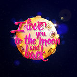 I love you to the moon and back Calligraphic Stock Image