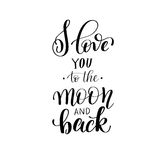 I love you to the moon and back handwritten calligraphy letterin Royalty Free Stock Photos