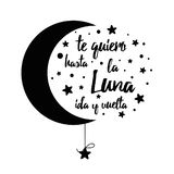 I love you to the moon and back. Handwritten inspirational phrase for your design with stars Text in Spanish vector illustration
