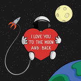 I love you to the moon and back quote card. Astronaut with heart is floating in space with rocket, moon and earth on background Royalty Free Stock Photography