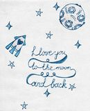 I love you to the moon and back quote with rocket and star paint watercolor. Hand paint watercolor greeting card Stock Photography