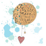 I love you to the moon and back. Romantic card Royalty Free Stock Photos