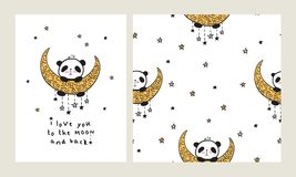 Set of Greeting card and seamless pattern with heart and cute pandas on the moon. I love you to the moon and back. Set of Greeting card with heart and cute Stock Photos
