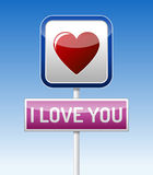 I Love You - traffic board. With red heart on blue sky background Stock Photos