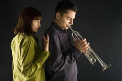I love when you trumpet this melody Stock Photography