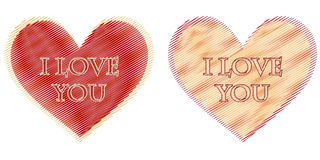 I love you in two striped hearts Royalty Free Stock Images