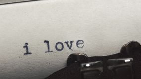 I love you - Typed on an old vintage typewriter. Close-up. I love you! - Typed on an old vintage typewriter. Close-up stock video