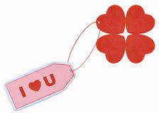 I love you valentine. I love you tag with red heart attached Royalty Free Stock Image