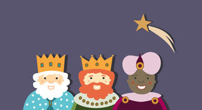 The Three Kings with big star on christmas time Stock Image