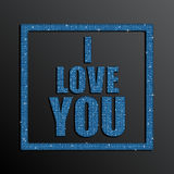 I Love You. Valentine Day. Blue Sequins. Royalty Free Stock Photography