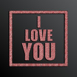 I Love You. Valentine Day. Red Sequins. Stock Photo