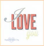 I Love You Valentines Day Card. Retro style Valentines Day card that says I love you Stock Photos
