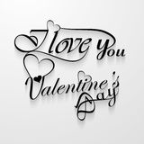 I Love You Valentines day card with lettering text Royalty Free Stock Photography