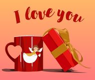 I love you. Valentine`s day card i love you. Present royalty free illustration