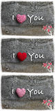 I Love You Valentine's  Day Message Decoration Red Stripes Fabri Stock Image