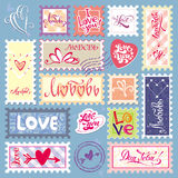 I LOVE YOU. Valentine's Day. Stamps. Symbol set Stock Photography