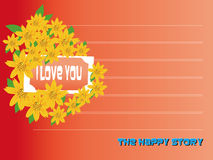 I love you Valentines day card with flowers Royalty Free Stock Images