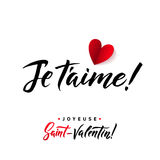 I Love You. Valentines Day French Black and Red Lettering Greeting Card White Background. Hand Drawn Calligraphy. Lovely Stock Images