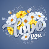 I love you. Valentines day greeting card with calligraphic romantic message and camomile flowers Stock Image