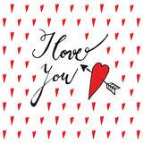 I love you, Valentines day or wedding card with handwritten text and hearts,  Stock Image