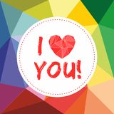 I love you valentines vector card with heart Royalty Free Stock Photo