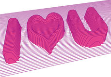 I love you, vector. 3d letters and heart shape,  background Stock Image