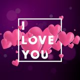 I Love You Vector Background. Decorative vector background with realistic 3D looking hearts created with gradient mesh, I Love You typographic message Stock Photos