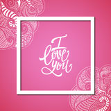 I love you vector card deisgn, postcard, valentine, ornamental  Royalty Free Stock Images