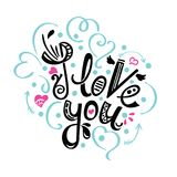 I love you. Vector card with handwritten calligraphy text and red hearts on white background Stock Photography