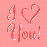 I Love You Vector Lettering stylish text Royalty Free Stock Photo