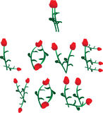 I love you vector made of roses Royalty Free Stock Images