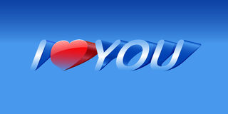 I love you. Vector love message on blue background, eps10 , gradient mesh and transparency used Royalty Free Stock Photography