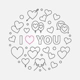 I love you vector round simple outline illustration. I love you vector round outline illustration. Valentines day greeting card concept Royalty Free Stock Photo