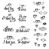I love you. Vector set of hand drawn lettering phrases. Romantic typography design for Valentines Day. Vector Illustration