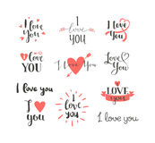 I love You vector text. Vector I love You hand drawn lettering text. Inspirational quote I Love You text follow your heart romantic type. I love You have stock illustration