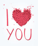 I Love You. Vector Valentine's Day card with heart and i love you phase Royalty Free Stock Photos