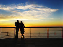 I love you and the view. Landscape photo of a romantic couple on holiday royalty free stock photos