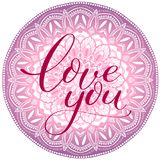 I love you violet  mandala Royalty Free Stock Images