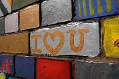 I love you wall. I love you painted on an artistic wall in the center of berlin Stock Photography