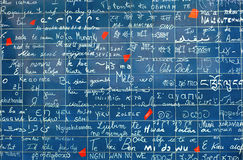 I love you wall on Montmartre in Paris. Words I love you are written in more than 300 languages Stock Photography