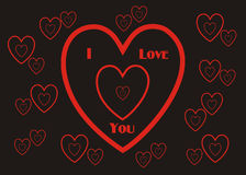 I Love You Wallpaper Background Giftwrap. I Love You, those three little words that mean so much, surrounded by hearts on a black background; perfect for a Royalty Free Stock Image