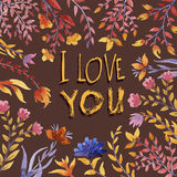 I love you Watercolor floral bouquet. Royalty Free Stock Image