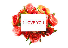 I love you on white card and rose isolated Stock Image