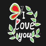 I love you white lettering with butterfly and leaves Royalty Free Stock Photography